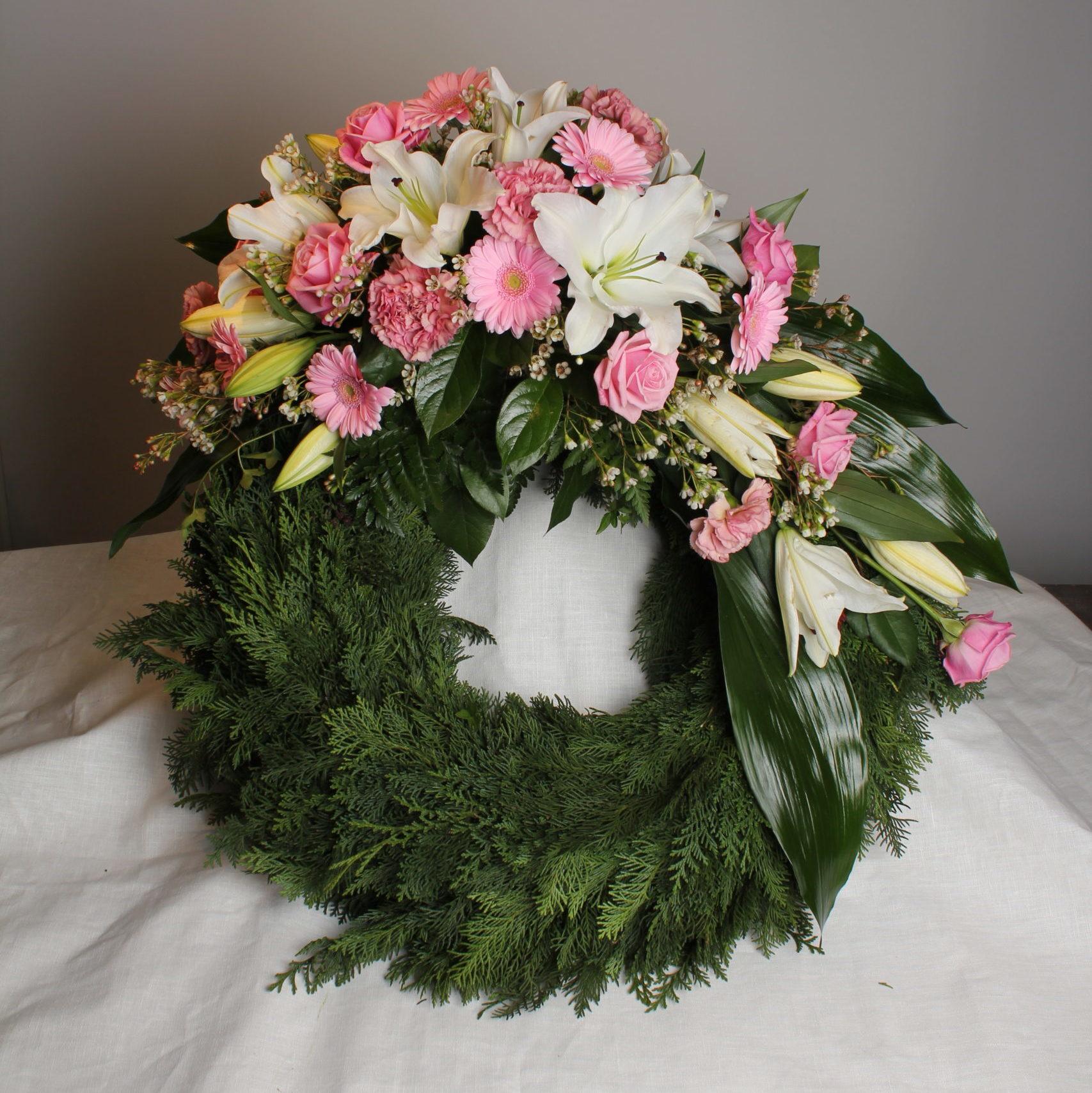 rosa krans begravning